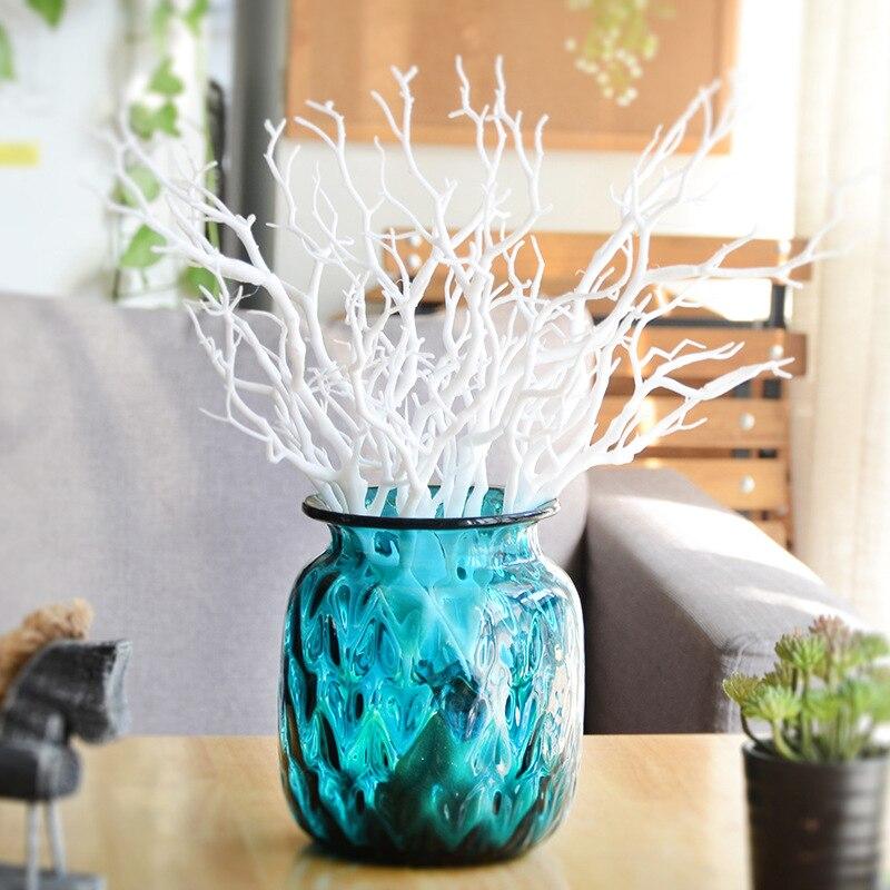 3 цвета ветка дерева прочная ветка украшения красивая комната белый/зеленый/кофе сухие искусственные растения