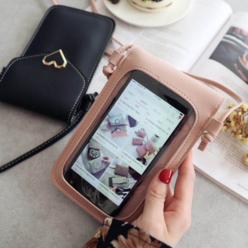 HEFLASHOR Women Mini Bag TouchScreen Cell Phone Purse Smartphone Wallet Leather Shoulder Strap Handbag Women Bag For Phone
