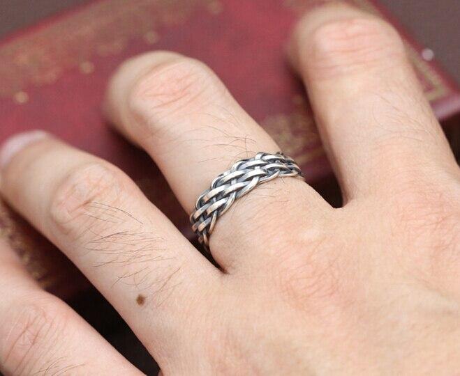 S925 Sterling Zilver Thai zilveren sieraden hand geweven ring voor mannen en vrouwen mode eenvoudige ring verjaardagscadeau paar accessoires - 4