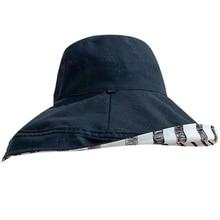 Двусторонняя полосатая Рыбацкая шляпа Женская Корейская версия УФ-защиты шляпа от солнца крышка лицо шляпа от солнца