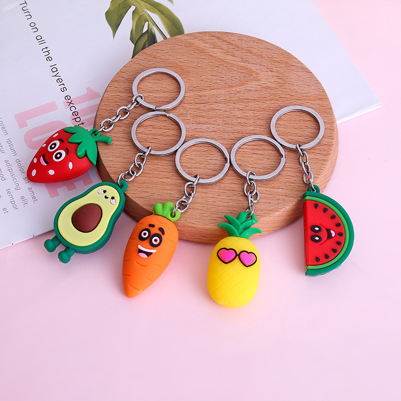 Cartoon Fruits Keychain Carrot Strawberry Pineapple Watermelon Keychain Women Bag Key Ring Gifts Wedding Party Gift