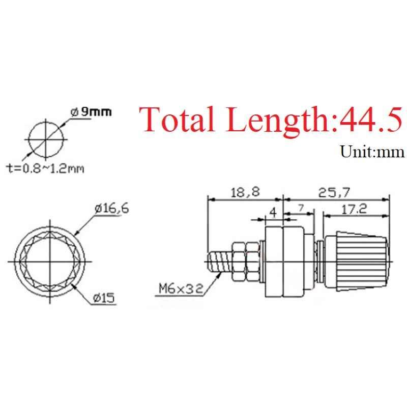 Metal 333 M6 * 32 tel bağlama sonrası dişli vida Dia 6mm lityum pil kaynak invertör kelepçe güç kaynağı bağlayın terminal ek yeri