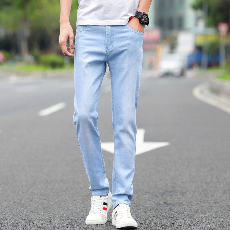 Vaqueros De Algodon Para Hombre Pantalones Vaqueros Elasticos Pequenos De Color Azul Claro 28 29 30 31 32 33 34 36 Pantalones Ajustados Suaves Y Comodos Para Hombre 2020 Men Jeans Men Jeans Trousersjeans Trousers Aliexpress