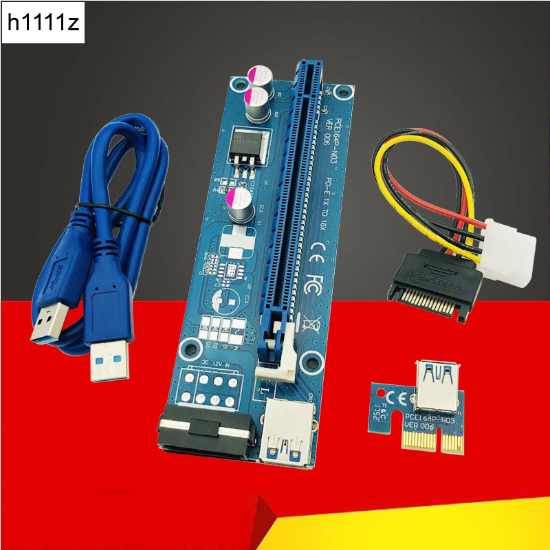 Computer Cables Connectors PCIE Riser PCI E 16x/x16 Riser for Video Card Cable USB 3.0 Molex 4Pin SATA Power for Bitcoin Mining-in Computer Cables & Connectors from Computer & Office