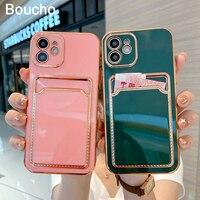 Boucho custodia per telefono placcata in oro con slot per schede per iphone 12 11 Pro MAX XS XR XS MAX 7 8 Plus 12 Mini custodia elettrolitica di lusso