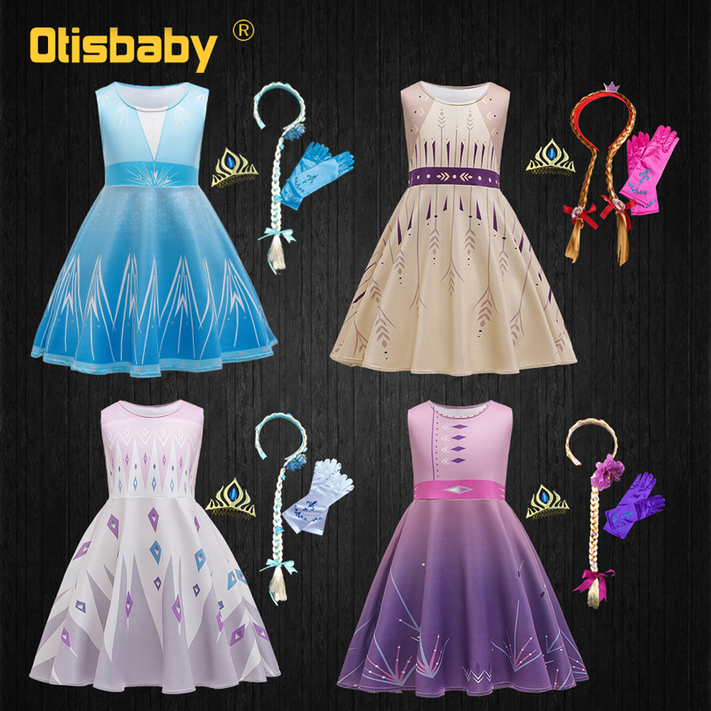 Kids Girls Christmas Clothes Snow Queen 2 Anna Elsa Cosplay Dress Up Girls Party Princess Elza Costume Vestidos Fantasia Infatil