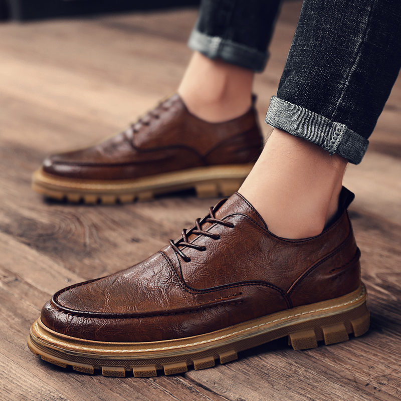 Men Genuine Leather Loafers Shoes Lace Up Male Breathable Fashion Comfortable Outdoor Casual Shoes Soft Leather Boat Zapatos A4
