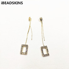 New arrival! 63x9mm 50pcs Chain with Rhinestone earrings Stud cap for Jewelry accessories/earrings accessories/Earring parts DIY
