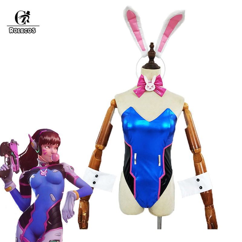 ROLECOS Game OW <font><b>Dva</b></font> <font><b>Cosplay</b></font> Costum Song hana Bunny Girl Cotume <font><b>Sexy</b></font> Women Jumpsuit Cute Women Romper Over Watch Game <font><b>Cosplay</b></font> image