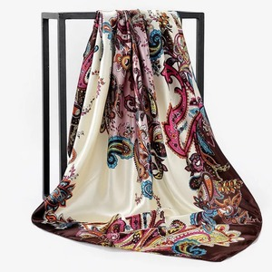 Image 2 - Весна лето квадратный шелковый шейный шарф женские шарфы шейный платок для офиса Дамская шаль Бандана 90 см мусульманский хиджаб платок из фуляра глушитель