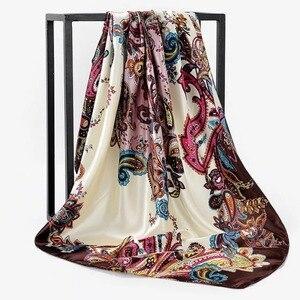 Image 2 - 봄 여름 광장 실크 목 스카프 여성 스카프 목 사무실 숙녀 목도리 Bandanna 90cm 이슬람 Hijab kerchief foulard 머플러