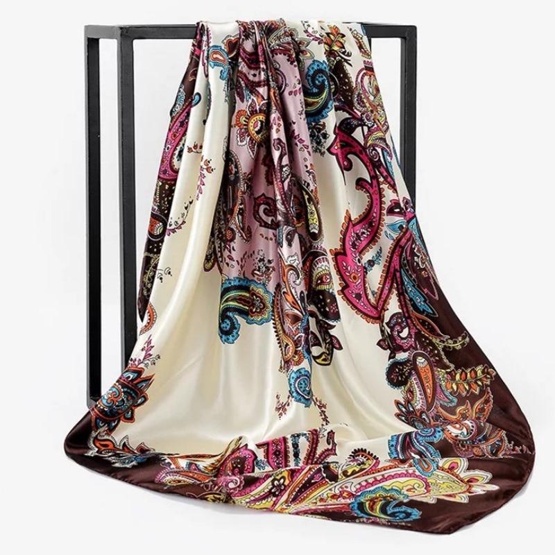 Spring Summer Square Silk Neck Scarf Women Scarves Neck Office Ladies Shawl Bandanna 90cm Muslim Hijab Kerchief Foulard Muffler