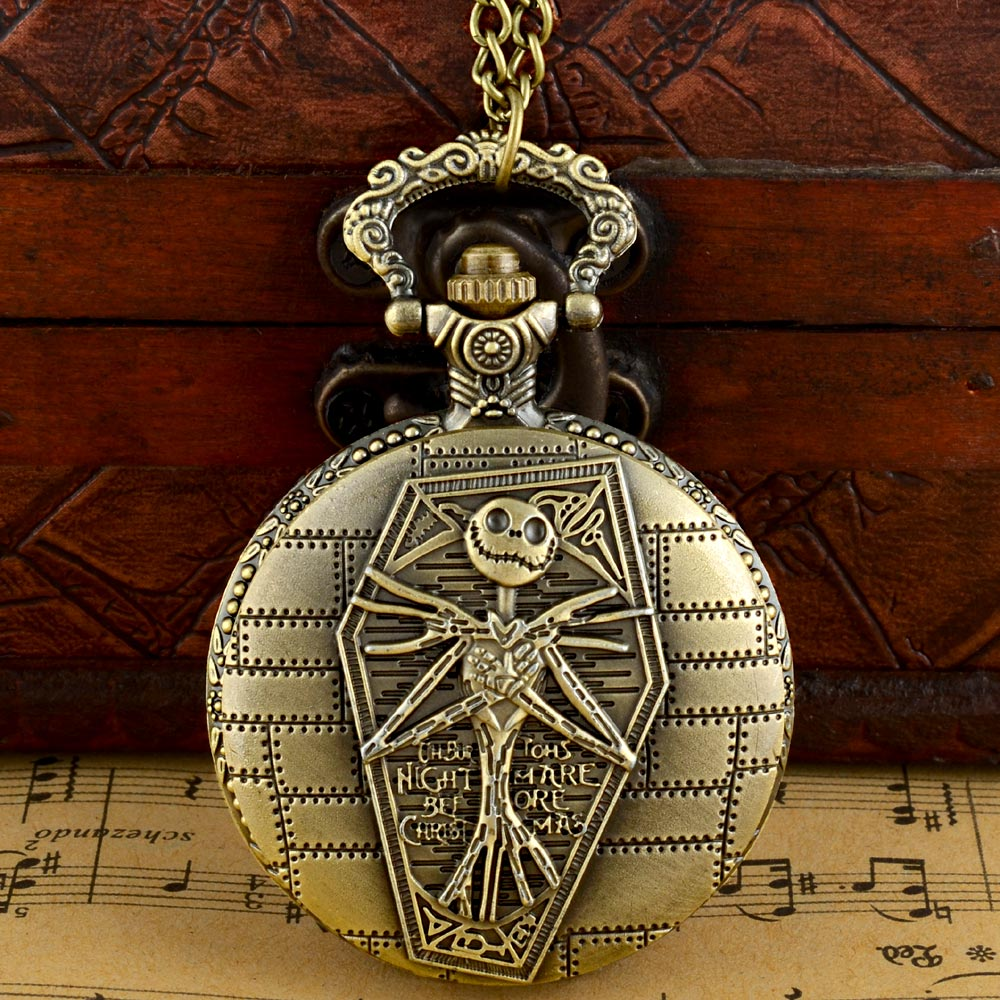 Antique Bronze The Nightmare Before Christmas Quartz Pocket Watch Classic Men Women Pendant Necklace Halloween Gift