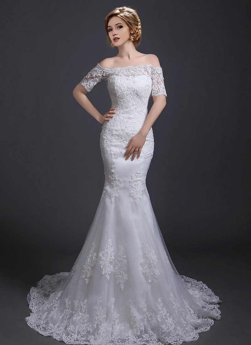 SF1888 New Arrival Strapless Off The Shoulder 2015 Short Sleeve Wedding Dress Bridal Gown Lace Appliques Mermaid Wedding Dress