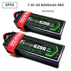GTFDR LiPo Battery 2S 7.4V 6200mAh 80C-160C XT60 RC Parts Hardcase Lipo 2S for 1/8 1/10  RC Car buggy Vehicle Truck Tank Boats