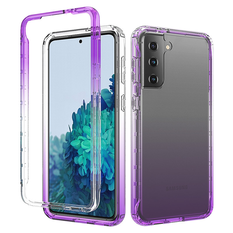 Gradient Clear Case For Samsung Galaxy S21+ S21 Ultra S21Plus 5G Cover for Samsung S20 FE Shockproof Anti Slip 2 in 1 Protector