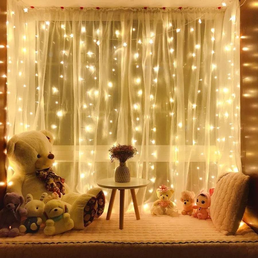 Thrisdar 3x3M 300 LED Twinkle Star Window Curtain String Light Wedding Party Home Garden Bedroom Wall Backdrop Garland Light