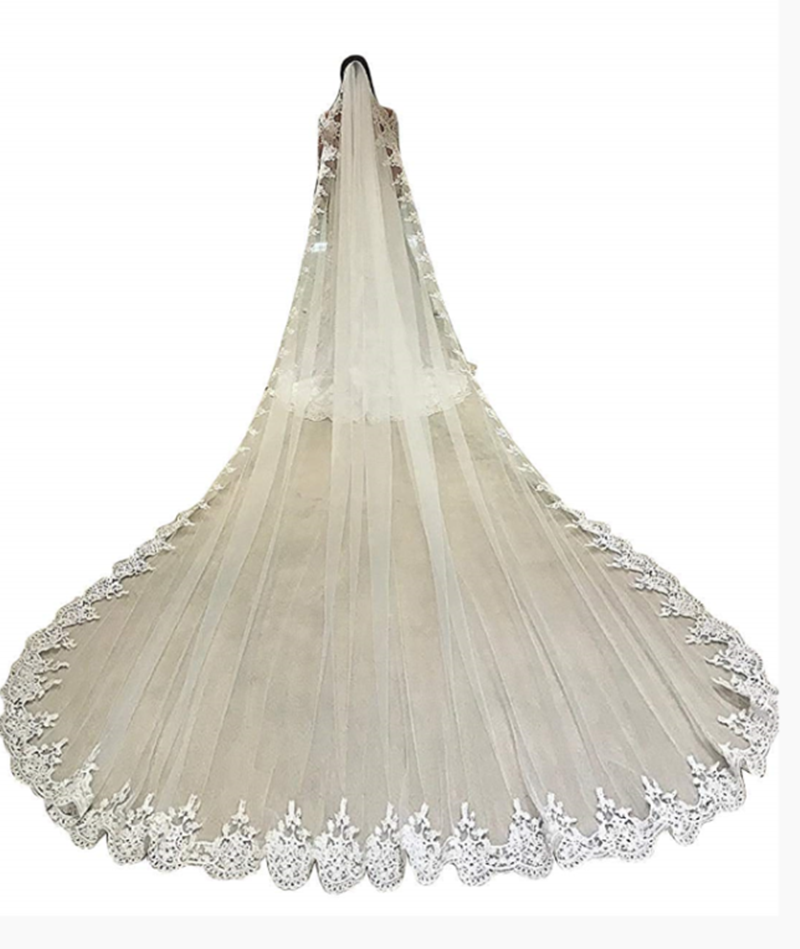 2 Layer White//ivory Bridal Cathedral Veil Lace Edge Bridal Wedding Veil On Stock