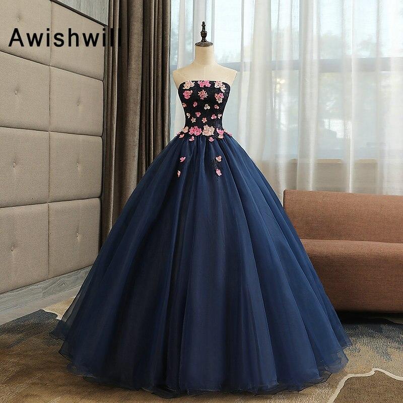 Vraies Photos pas cher longue soirée robe de soirée bretelles fleurs dentelle Organza longueur de plancher bleu marine robe de bal robe de bal