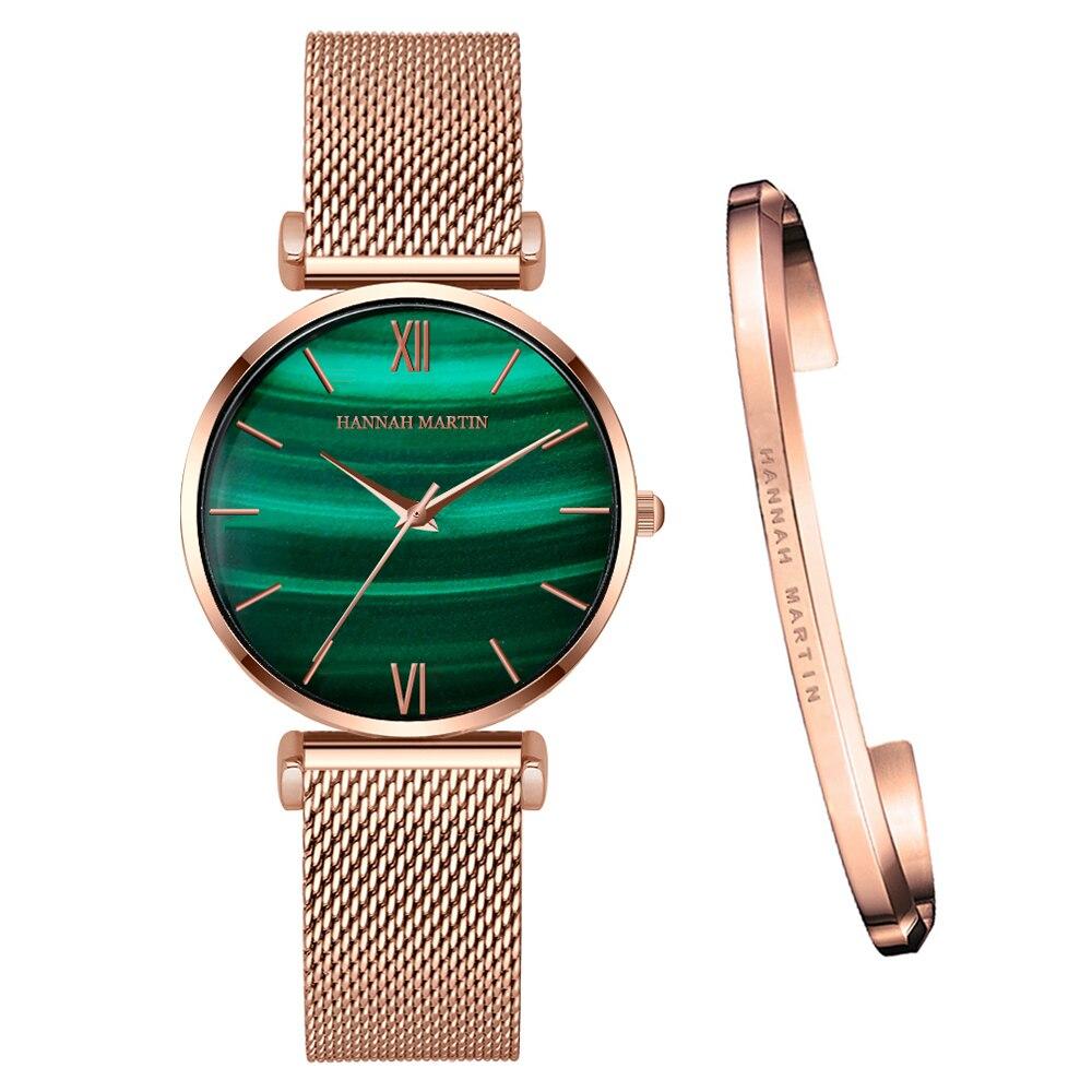 1 Set Bracelet Japanese movement Quartz Waterproof Peacock Green Stone Pattern Fashion Casual Top Brand Luxury Women Watches