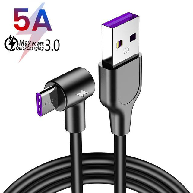 5A Supercharge rodzaj USB C kabel do huawei P20 P30 Pro szybkie ładowanie 4 0 3 0 szybkie ładowanie typu C kabel do Samsung S9 S10 USB C tanie tanio elxjar USB A 90 Degree SuperCharge 5A Type-C Cable Charge Data Sync 90 degree design SuperCharge Supported 5A Max 1M 1 5M 2M 3M