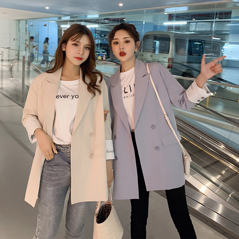 2019 New Solid Color Double-breasted Loose Blazer Casual Long Section Large Size Jacket Female Casual Autumn Office Suit