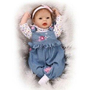 22 Inch 55 Cm Rebirth Baby Soft Silicone Simulation Pretty Girl Doll Baby Doll Toy Reborn Dolls Babies Silicone Baby Doll