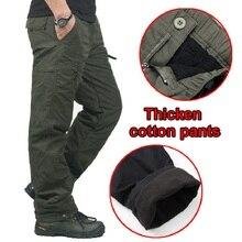 男性の冬暖かい厚手のパンツ二重層フリース軍事軍迷彩、戦術的な綿カジュアルショーツズボン男性バギーカーゴパンツ男性