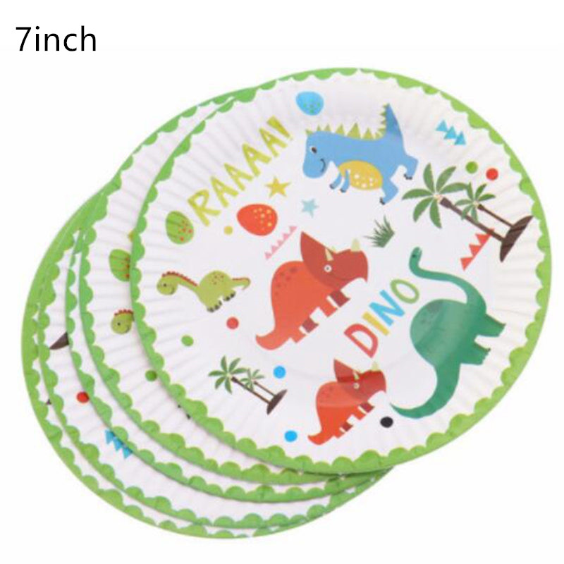 Dinosaur Theme Tableware Kids Birthday Party Decorations Plate Cups Popcorn Box Tablecloth Balloon Straw Banner Party Supplies