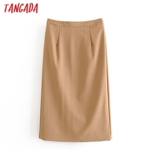Tangada 2020 autumn women khaki midi skirt faldas mujer vintage zipper office la