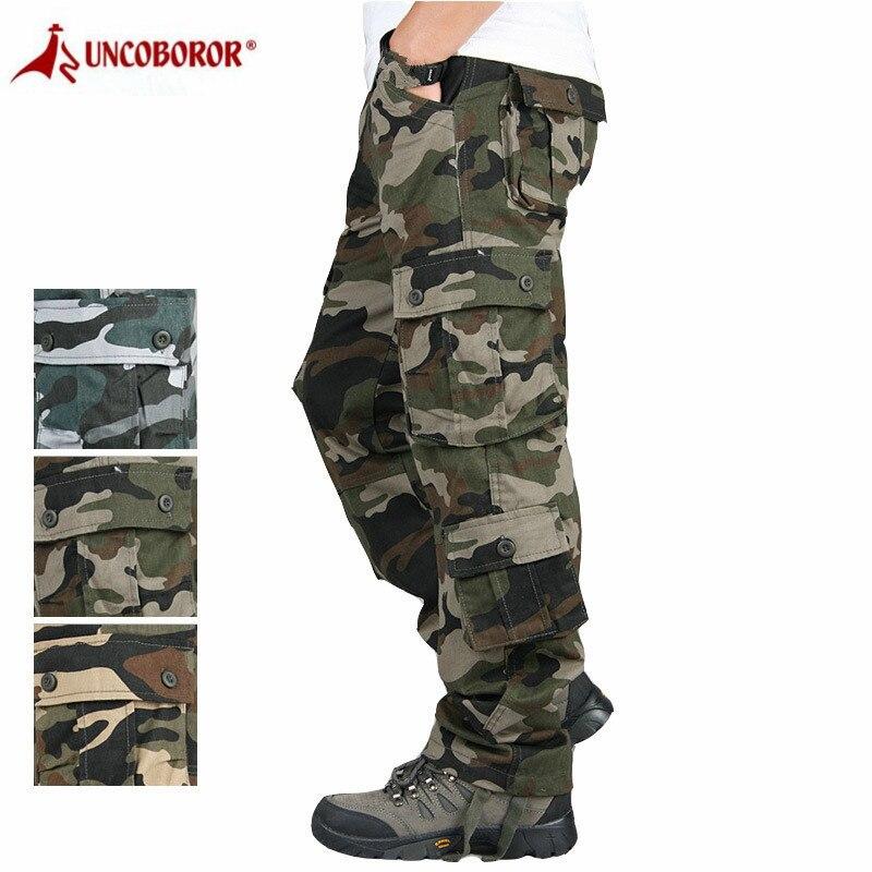 Мужские камуфляжные брюки-карго, повседневные мешковатые армейские брюки с множеством карманов, свободные брюки 44
