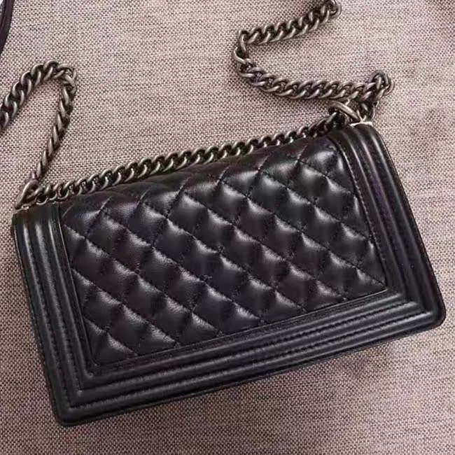 Classic women's handbag luxury high quality leather famous designer copper ancient silver chain women's bag