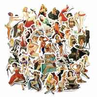 50 piezas Europa y América Retro chica pin up chica pegatina decoración papelería pegatina DIY Ablum diario Scrapbooking etiqueta