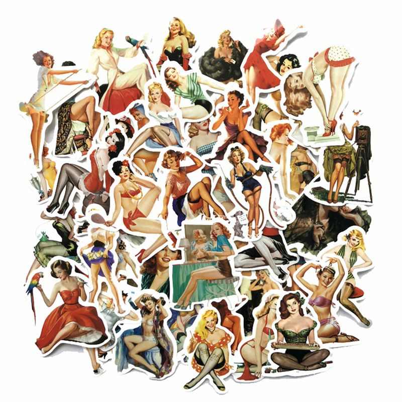 50pcs Europe And America Retro Girl Pin Up Girl Sticker Decoration Stationery Sticker DIY Ablum Diary Scrapbooking Label Sticker
