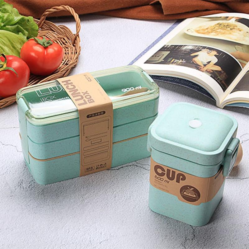 900Mlวัสดุเพื่อสุขภาพกล่องอาหารกลางวัน3ชั้นข้าวสาลีBentoกล่องอาหารเย็นไมโครเวฟกล่องเก็บอาหารก...