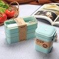 900ml Gesunde Material Mittagessen Box 3 Schicht Weizen Stroh Bento Boxen Mikrowelle Geschirr Lebensmittel Lagerung Container Lunchbox