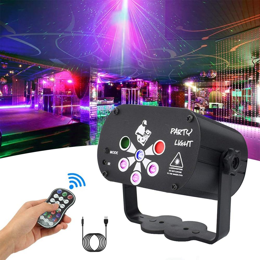 Luz do laser 6 lente 128 padrões palco dj luz de discoteca, luz de festa uv usb remoto dj discoteca luz de palco para o natal do casamento ktv