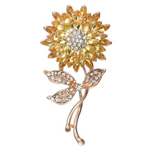 Sunflower  Brooch Korean-Style Hot Fashion High-End Sun Flower Corsage Factory Outlet hot sale korean brooch high end zircon flower scarf small brooch dual use fashion butterfly shape pin jewelry factory direct