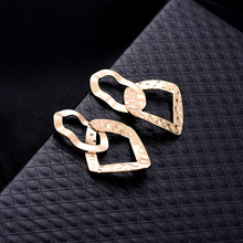 NJ 2019 New Fashion Trendy Two Circles Cool Drop Earrings Geometric Gold Silver Party Jewelry Pendant For Woman