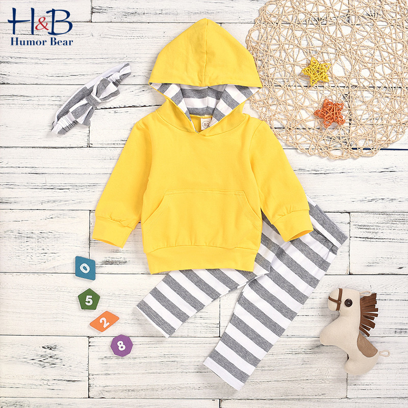Humor Bear Children's Clothing Boys Spring & Autumn Casual Kids Hooded Long Sleeves Shirt+Trousers 2Pcs Baby Girls Clothing Sets