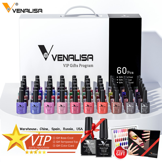 62pcs*7.5ml VENALISA Gel Polish Nail Art Salon Manicure Wholesale Soak off Base No Sticky Topcoat UV LED Nail Gel Varnish Kits