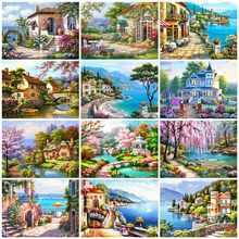 HUACAN – peinture de diamant 5D de maison, broderie complète de strass carrés, mosaïque de paysage, décoration de maison