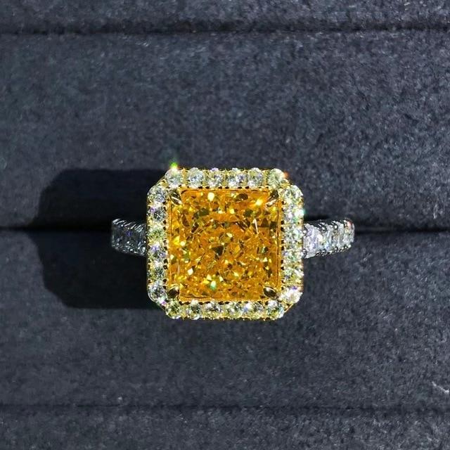 Wong Rain Luxury 925 Sterling Silver 2 CT Radiant Cut Created Moissanite Gemstone Diamonds Wedding Engagement Ring Fine Jewelry 3