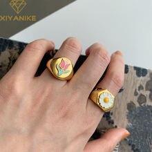 Кольцо женское из серебра 925 пробы с цветным цветком