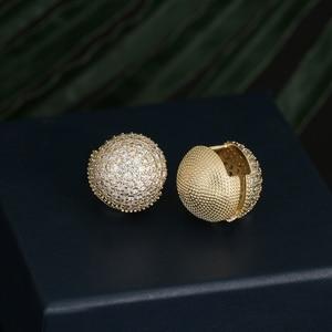 Image 1 - Newranos Gold Round Ball Earrings Cubic Zirconias Hoop Earrings Hollow Geometric Ball Metal Earrings for Women Jewelry ELS001784