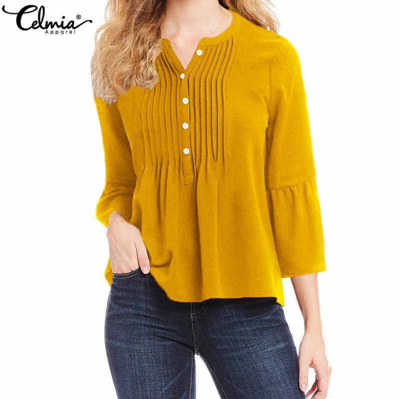 Cellia 5XL Женская Желтая блузка плиссированные рубашки 2019 элегантные расширяющиеся к низу рукава оборки Топы однотонные повседневные свободные офисные женские Blusas Mujer