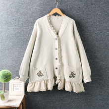 Knit Cardigan Sweater Literature Spring Long-Sleeved New And Lace Small Art Solid Stitching