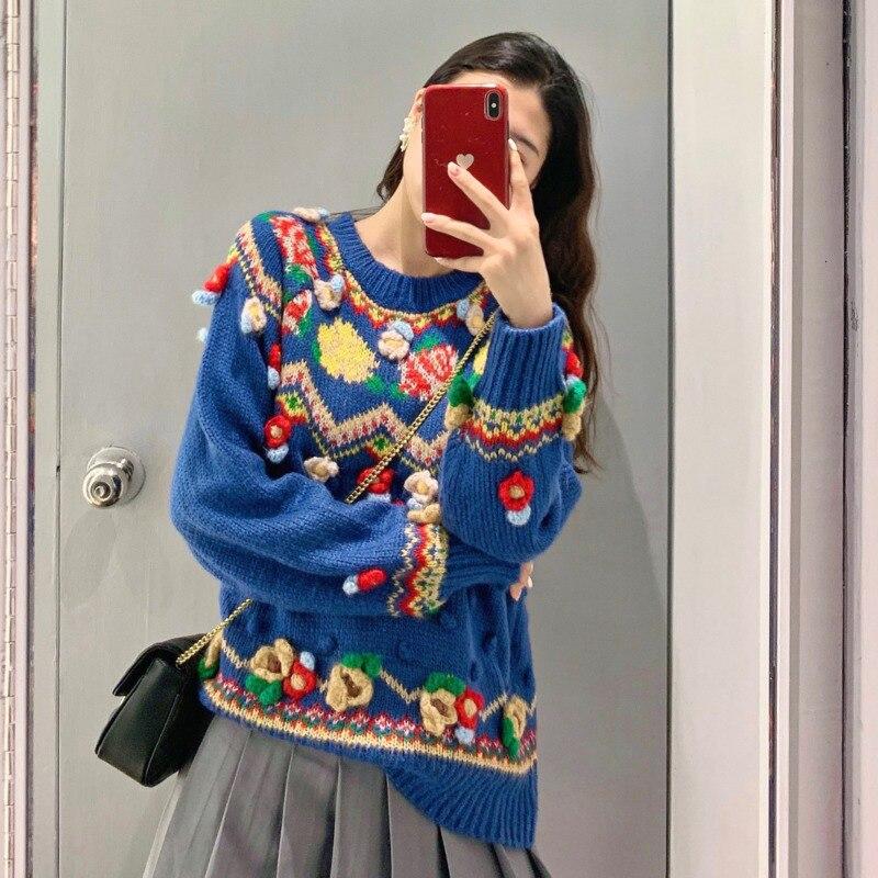 2020 haute qualité bohème crochet Floral col rond épais bleu pull pull noël luxe mode hiver vêtements B001