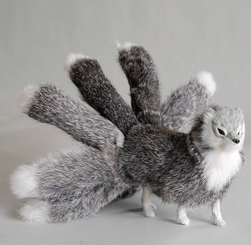 new creative real life gray fox model plastic&furs nine-tails fox doll gift about 30x12.5cm xf2804