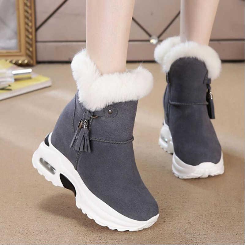 ฤดูหนาวรองเท้าบู๊ทรองเท้าผู้หญิงรองเท้าบูทข้อเท้ารองเท้าหนาเพิ่มขึ้น 2019 ฤดูหนาวใหม่สบายๆสบายๆ X165